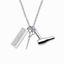 New Women Scissors Comb Hair Dryer Barber Hairstylist Pendant Necklace Gift