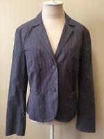 CAbi Womens Gray White Pin Stripe Cotton Blend Blazer Size 12