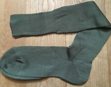 French Army 1950s Men Military High Socks~Ribbed Green Cotton Rayon Knit~New~M/L