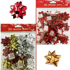 Stick-In Metallic Gift Bows Christmas Wrapping Red Gold Silver Party Gift Décor