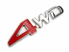 UK Stock 4WD Metal Badge Logo Chrome Red For Car Truck 4x4 Decal Emblem