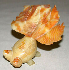Antique Chinese Green Hand Carved Soapstone Jadeite Koi Fish Figurine