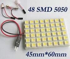 White Car Interior 5050 Panel 48 SMD LED Light Lamp + T10 Festoon BA9S Adapters