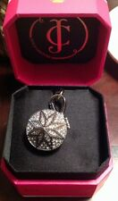 Juicy Couture large pave diamond charm locket silver charm rare new in box
