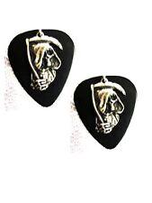 New Real Size Black Guitar Pick w/ Grim Reaper Dude Charm Dangle Drop Earrings