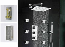 "Luxury Thermostatic Shower Faucet Sets Valve 8"" Panel Body Massage Jets Chrome"