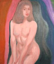 Vintage European oil painting nude woman portrait