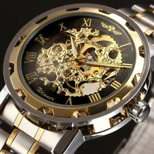 Luxury Men's Sport Steampunk Skeleton Hand Wind Up Steel Mechanical Wrist Watch