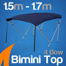 4 Bow 1.5-1.7m Blue Boat Bimini Top Canopy Cover w/ Rear Poles & Sock
