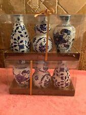 "Lot THE BOMBAY COMPANY 6 Floral Ceramic Blue & White Vases 3"" x 6"" NEW"