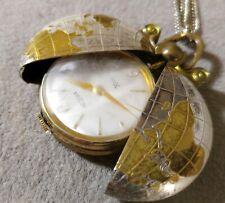 Vintage MEDANA Xtensa Pendant/Pocket Watch Manual-Wind Globe Chain Necklace