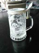 Reduced: Vintage West Germany Beer Stein Etched Glass With Deer/Elk Pewter Lid.