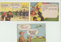 WW2 lot of 3 comic Postcards Popeye,Moon Mullins