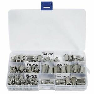 """Stainless Steel Rivet Nuts Kit 8-32 10-24 1/4""""-20 5/16""""-18 3/8""""-16 Nutsert"""