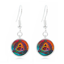 Triquetra Art Tibet Silver Dome Photo 16MM Glass Cabochon Long Earrings #519