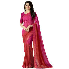 Pink Color Bollywood New Indian Designer Georgette Printed Saree With Blouse