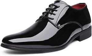 Men's Formal Oxford Dress Loafer Shoes Faux Patent Leather Tuxedo Dress Shoes