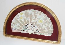 AB133 ART NOUVEAU FAN. CARVED STICKS. SILCK. WITH FRAME. SPAIN. EARLY 20th CENT.