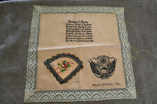 "Original Pre to Early WW2 U.S. Army ""Mother O' Mine"" Palm Springs Silk Napkin"