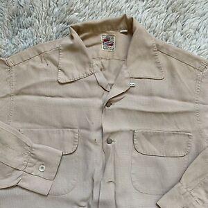 Vintage 50s Ashfield Duke of Hollywood Medium Rayon Loop Shirt Rockabilly Check