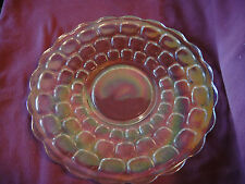 """Vintage Clear Carnival Glass Lenticular Bubble Plate 11"""" Iridescent"""