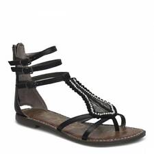 Sam Edelman Garner Sandal Gladiator Black Strappy Thong Toe Back Zip 8.5
