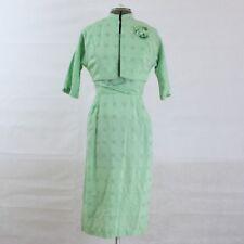 VTG 50s Green Wiggle Dress and Bolero Jacket Dress Suit Set S M Mad Men Cotton