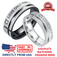 "Couple's Matching Ring ""LOVE ONLY YOU"" His or Hers Wedding Band Promise Ring"