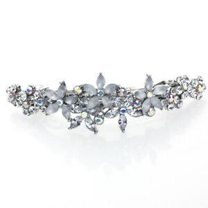 Hand Made Hair Jewelry Contrasting swarovski crystal Flower Barrette, White