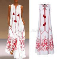 UK Womens Summer Sleeveless V-neck Beach Dress Kaftan Sundress Long Maxi Dress