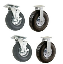 """4 NEW Casters with 8"""" Pneumatic Air Tires 2 Swivel with Brake w 2 Rigid Casters"""