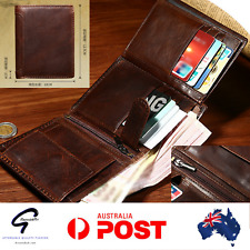 Luxury Mens New Brown Genuine Leather Slim Trifold Coin Card Holder Purse Wallet