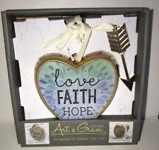"Art a Gram COLLECTABLE HEARTS Table Top or Wall ""Love, Faith, Hope"""