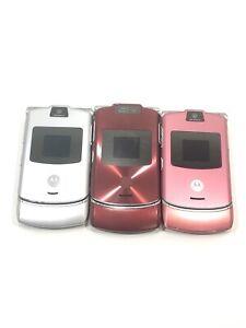 Lot Of 3 Retro ORIGINAL Motorola V3 Razr Silver, Pink, Red Cellular Phone Razor