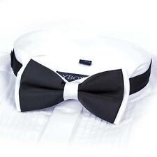 Men Satin Bow Tie Dickie Bow Pre-Tied Wedding Tuxedo Tie Necktie Black&White ASM