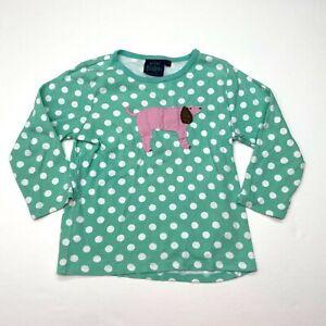Mini Boden Dog Polka Dots Tee T-Shirt 7-8 Girls Mint Green Applique Long Sleeve