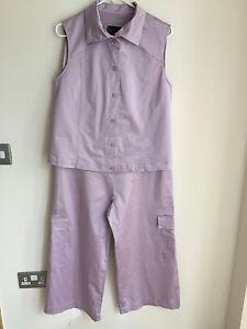 Formes 44 Size 16 Ladies Trousers Top Lilac Purple Suit Maternity Daniel Boudon