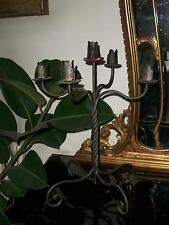 antico grande candelabro candeliere in ferro battuto a cinque fuochi