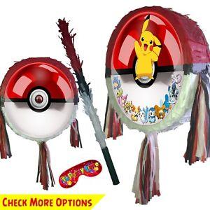 Pokeball Piñata set Kids Smash Party Fun Stick Pokémon poke ball Red Pikachu UK