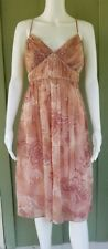 NWT MUSE Blush Pink Paisley Silk Chiffon Dress 12 Beaded