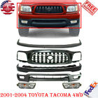 Front Bumper Paintable Steel Kit Grille Fogs For 2001-2004 Toyota Tacoma 4wd