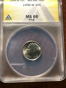 1996 W ROOSEVELT DIME ANACS MS66 FT FULL TORCH