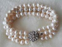 3 Reihen 6-7mm weißes Süßwasser Perle Armband,around 8inch