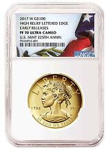 2017-W Liberty 225th High Relief Gold $100 NGC PF70 UC ER Flag SKU46524