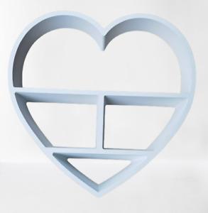 White Heart floating shelf 4 Compartment Wall mountable Shelve Decorative Shelf