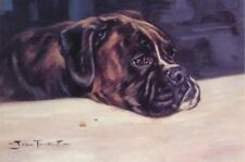Boxer Dog Puppy Animal Painting Blank Birthday Fathers Day Card