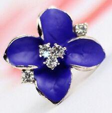 COPPIA fiore azzurro cristallo Rhinestone Orecchini in Oro e Diamante Stud Hoop Piercing E88