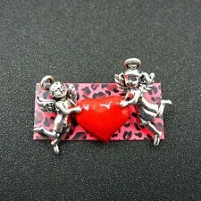 """BETSEY JOHNSON'S SILVER FILLED """" CHERUBS FLYING WITH A RED LOVE HEART """" BROACH"""