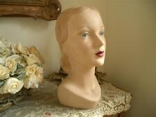 Signed Hm Antique Vtg 1940s Plaster Store Front Hat Display Mannequin Head Form