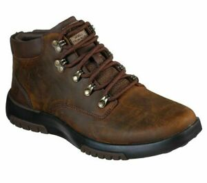 Mens Skechers Brown Leather Lace up Chukka Desert Boots Size UK 8 42 ARCH GOGA